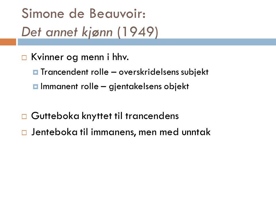 Simone de Beauvoir: Det annet kjønn (1949)