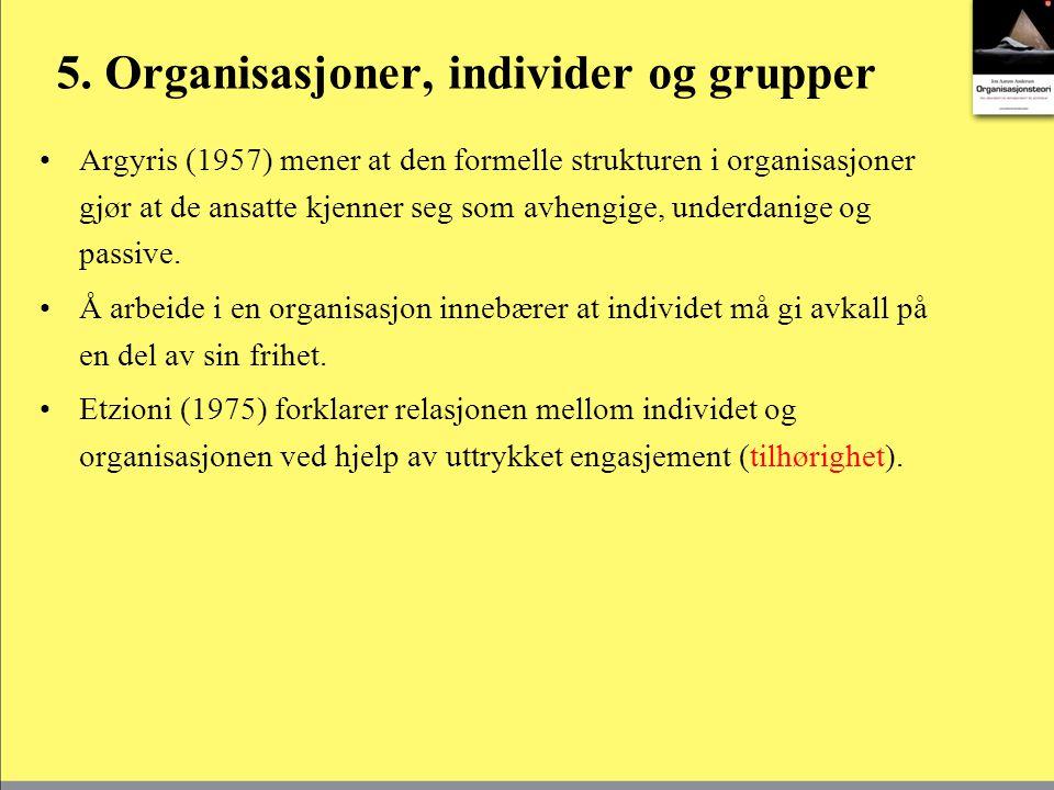 5. Organisasjoner, individer og grupper