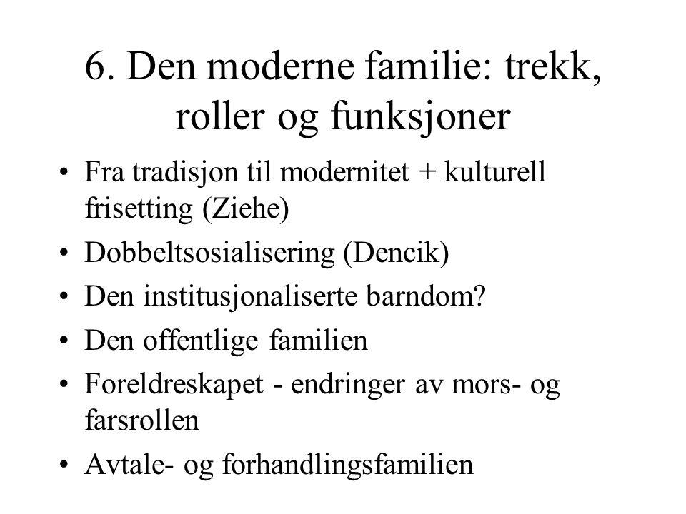 6. Den moderne familie: trekk, roller og funksjoner
