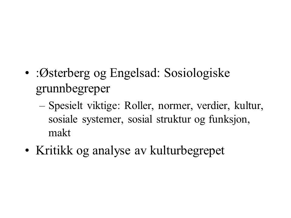 :Østerberg og Engelsad: Sosiologiske grunnbegreper