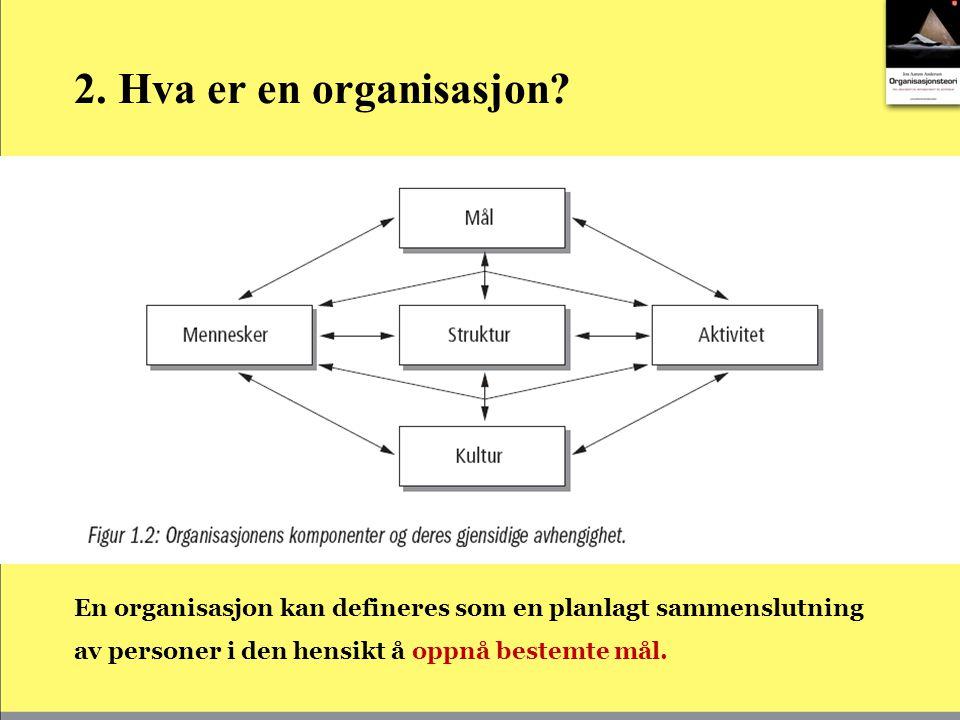 2. Hva er en organisasjon.