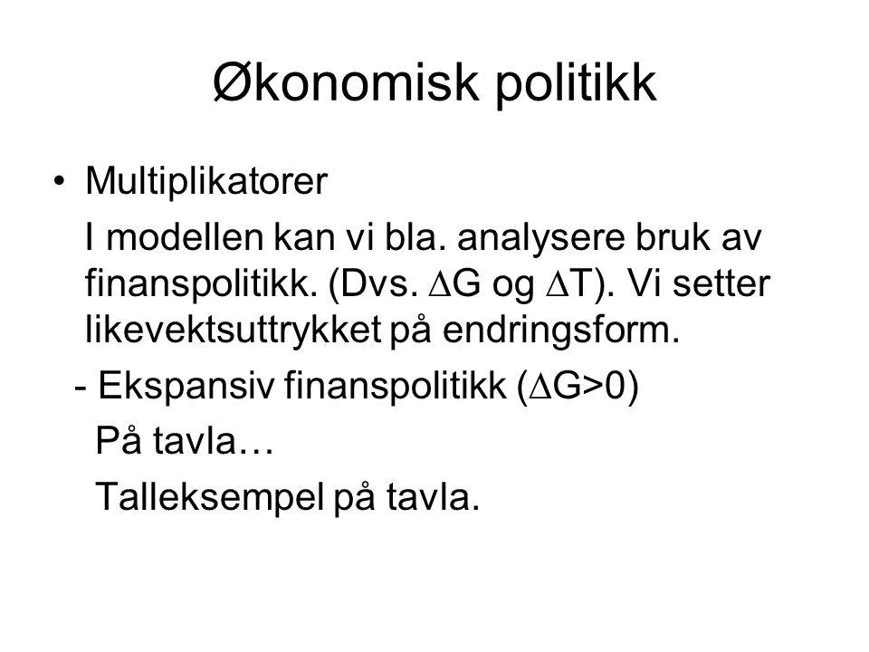 Økonomisk politikk Multiplikatorer