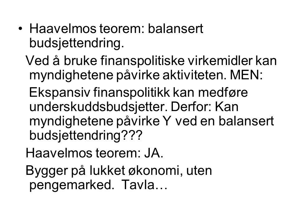 Haavelmos teorem: balansert budsjettendring.