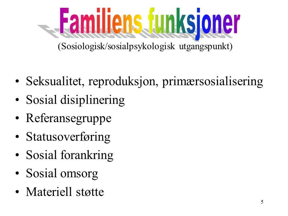 (Sosiologisk/sosialpsykologisk utgangspunkt)