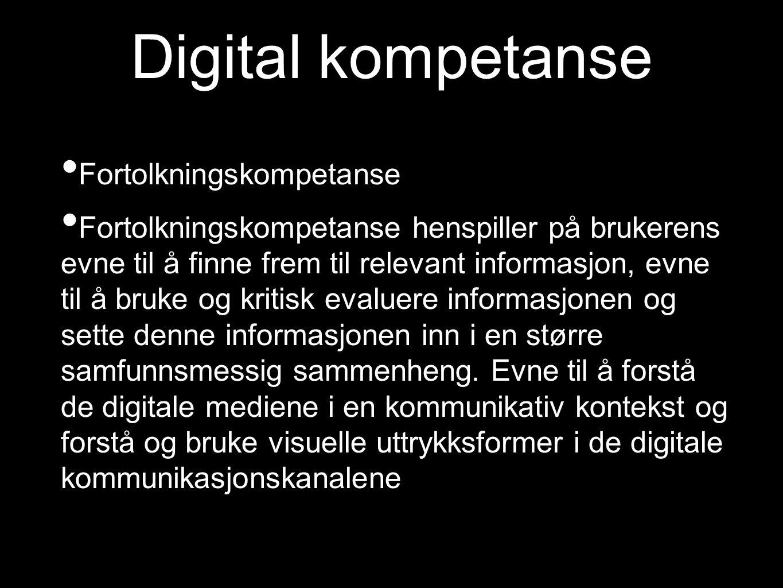 Digital kompetanse Fortolkningskompetanse