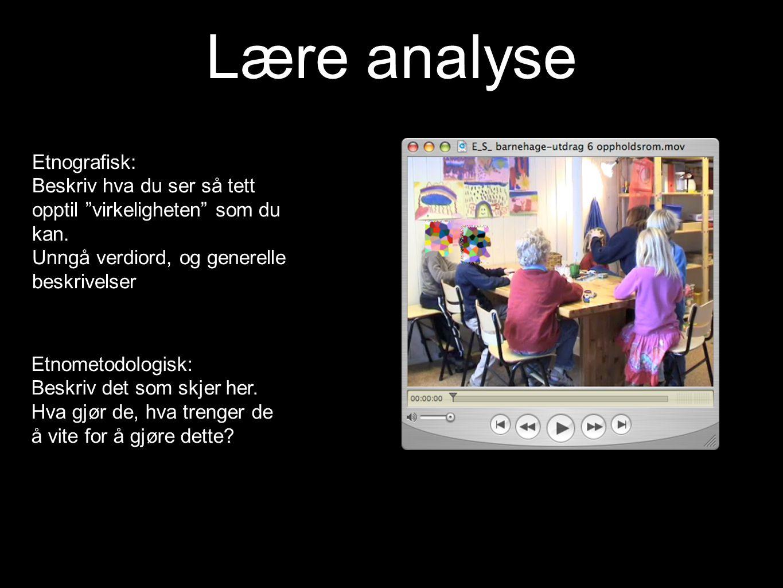 Lære analyse Etnografisk:
