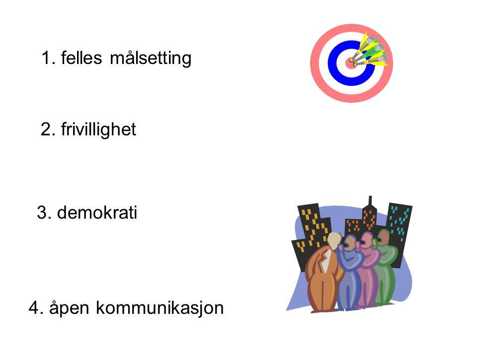 1. felles målsetting 2. frivillighet 3. demokrati 4. åpen kommunikasjon