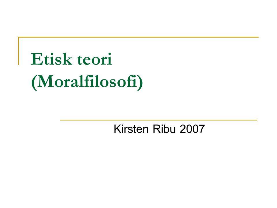 Etisk teori (Moralfilosofi)