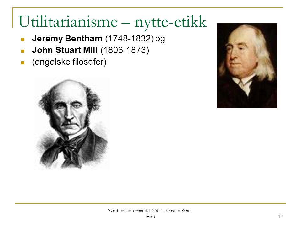 Utilitarianisme – nytte-etikk