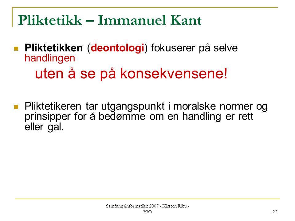Pliktetikk – Immanuel Kant