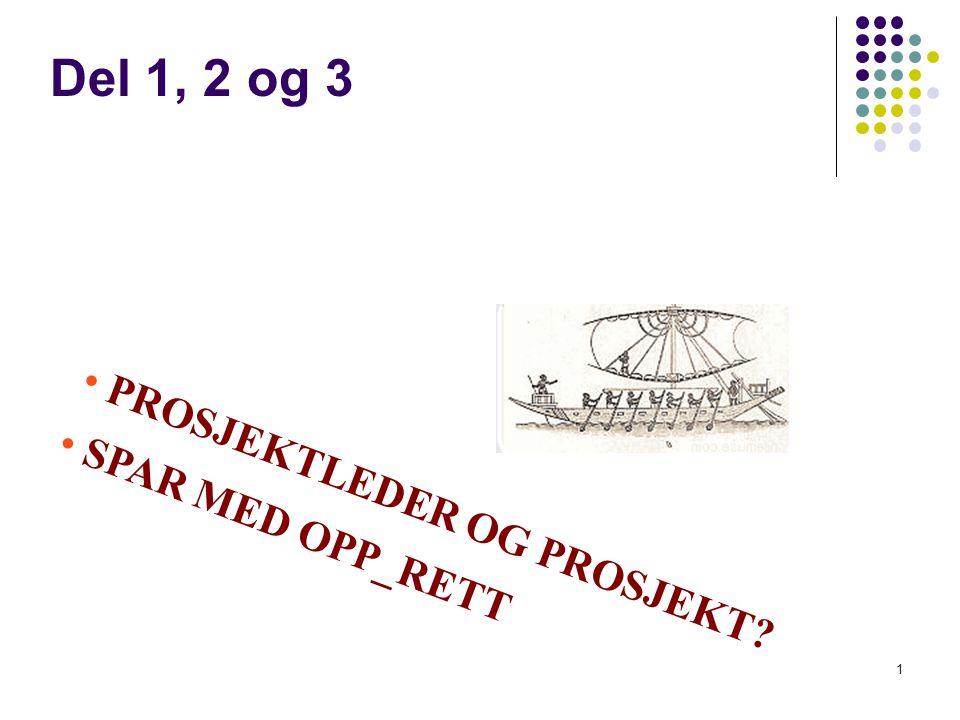Del 1, 2 og 3 PROSJEKTLEDER OG PROSJEKT SPAR MED OPP_RETT