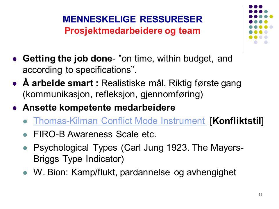 MENNESKELIGE RESSURESER Prosjektmedarbeidere og team