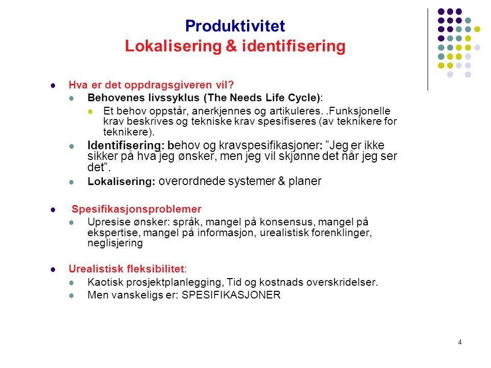 Produktivitet Lokalisering & identifisering