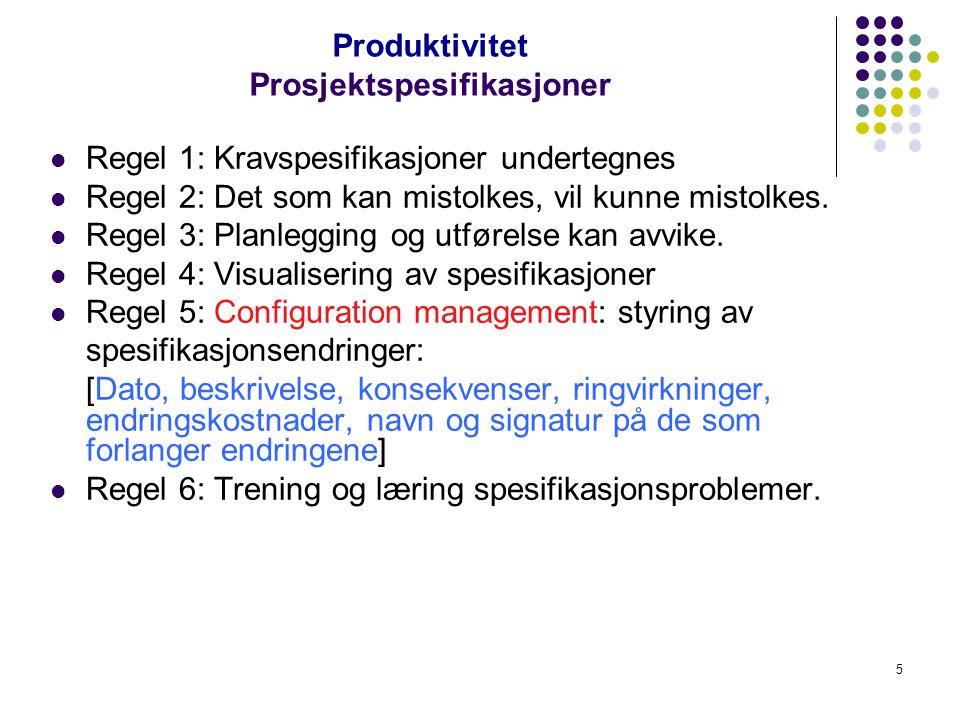 Produktivitet Prosjektspesifikasjoner