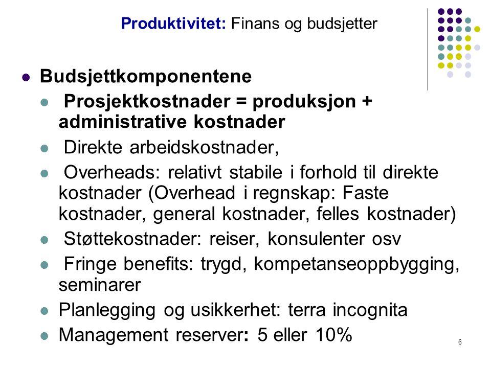 Produktivitet: Finans og budsjetter