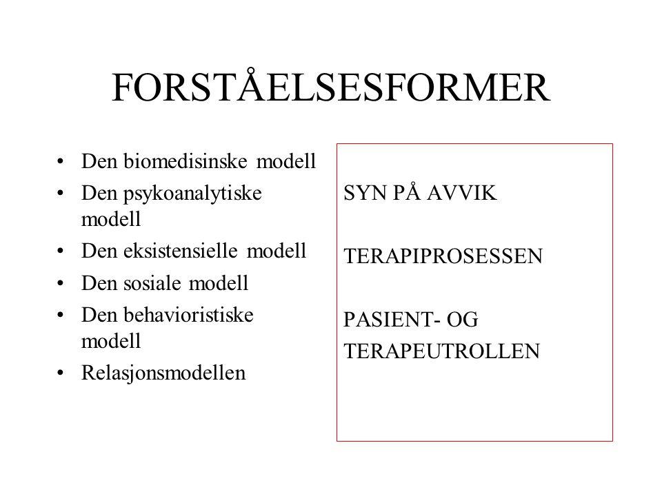 FORSTÅELSESFORMER Den biomedisinske modell Den psykoanalytiske modell