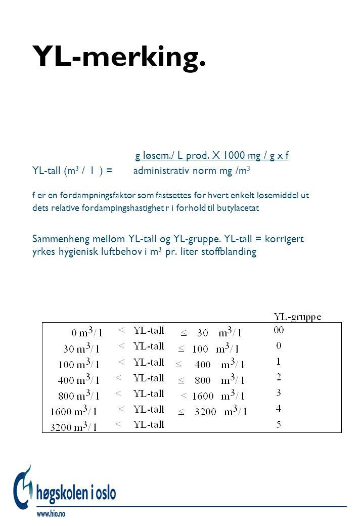 YL-merking. g løsem./ L prod. X 1000 mg / g x f