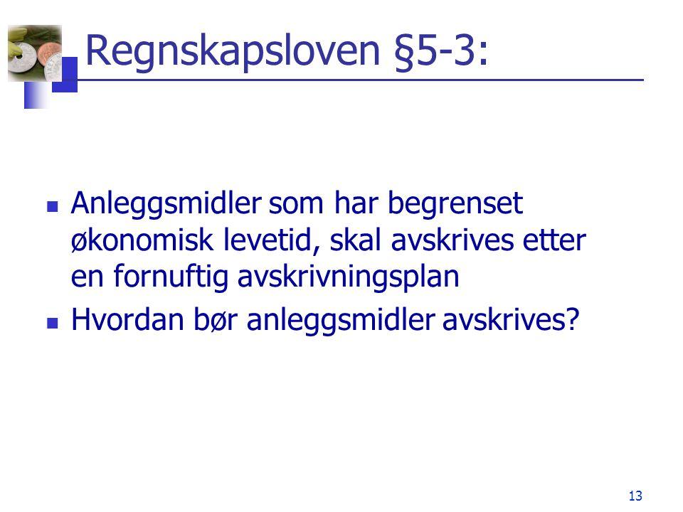 Regnskapsloven §5-3: Anleggsmidler som har begrenset økonomisk levetid, skal avskrives etter en fornuftig avskrivningsplan.