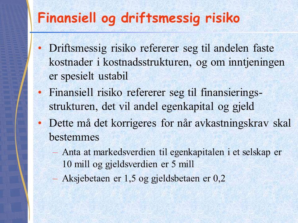 Finansiell og driftsmessig risiko
