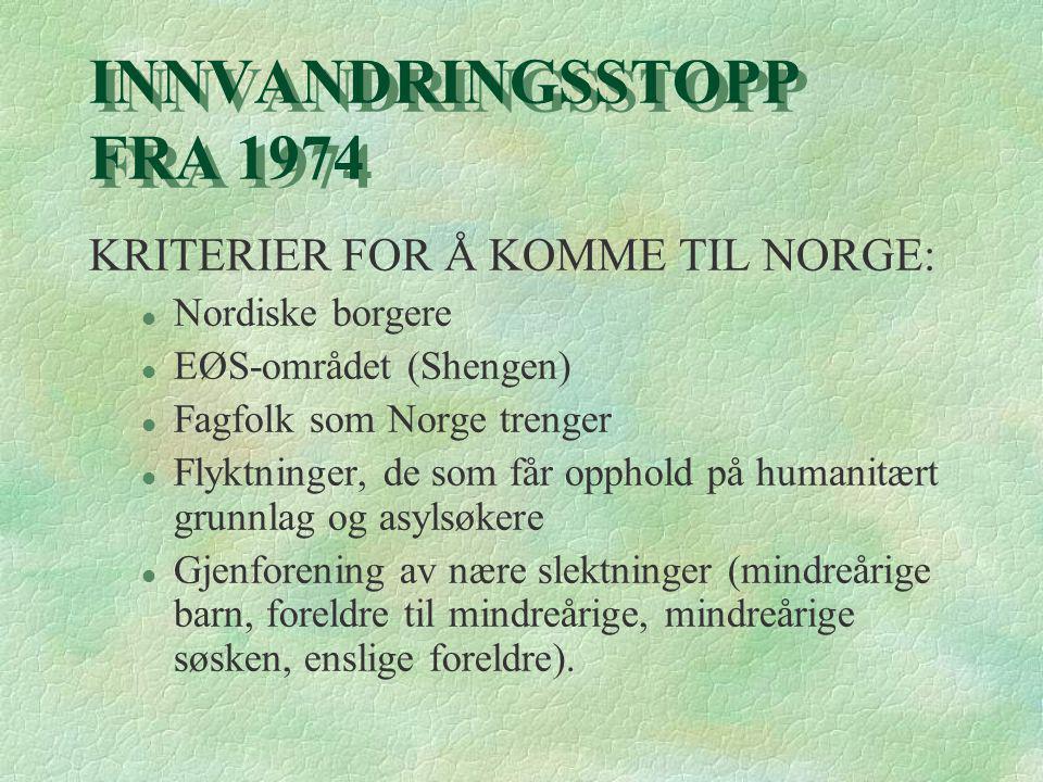 INNVANDRINGSSTOPP FRA 1974