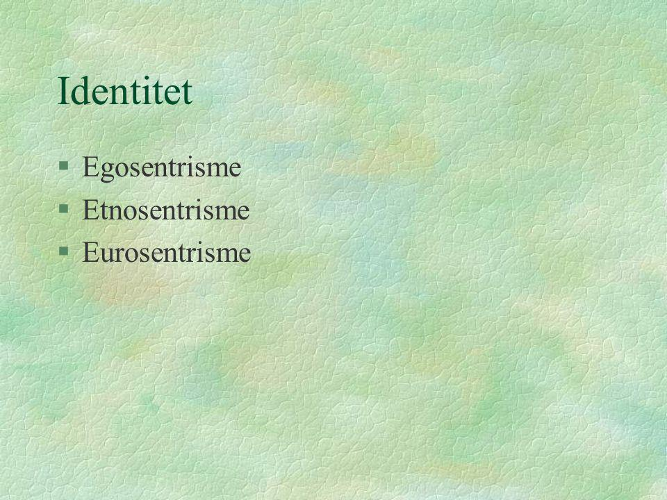 Identitet Egosentrisme Etnosentrisme Eurosentrisme