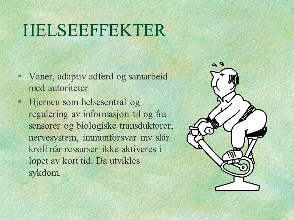 HELSEEFFEKTER Vaner, adaptiv adferd og samarbeid med autoriteter