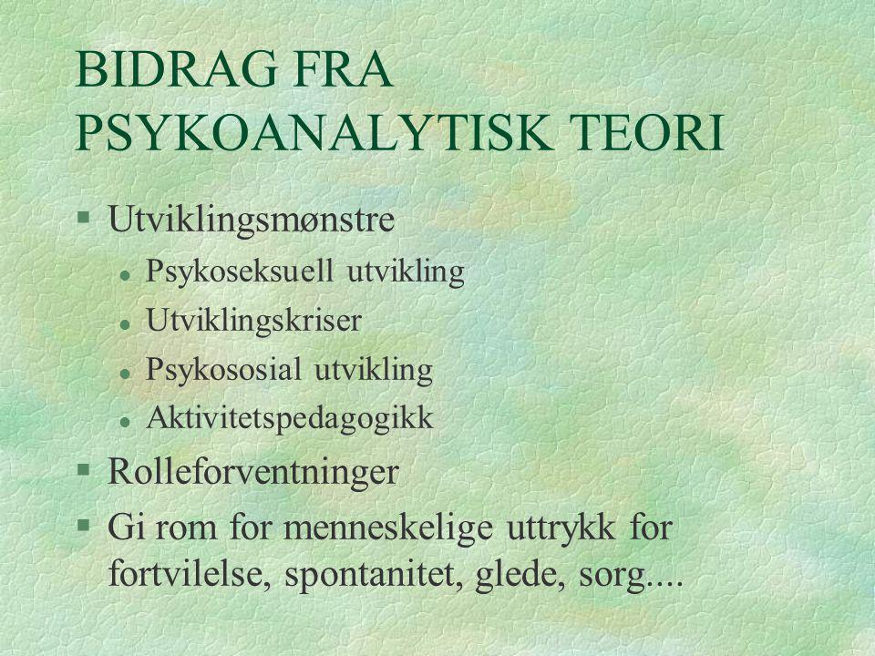 BIDRAG FRA PSYKOANALYTISK TEORI