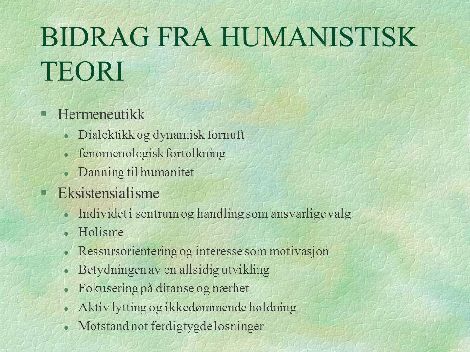 BIDRAG FRA HUMANISTISK TEORI