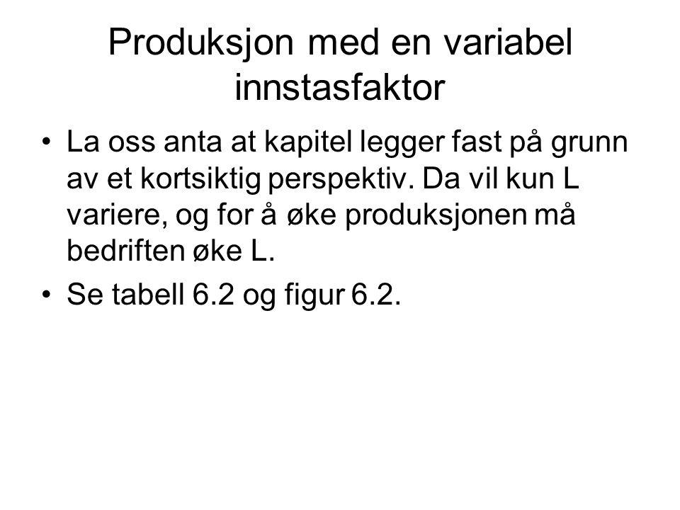 Produksjon med en variabel innstasfaktor