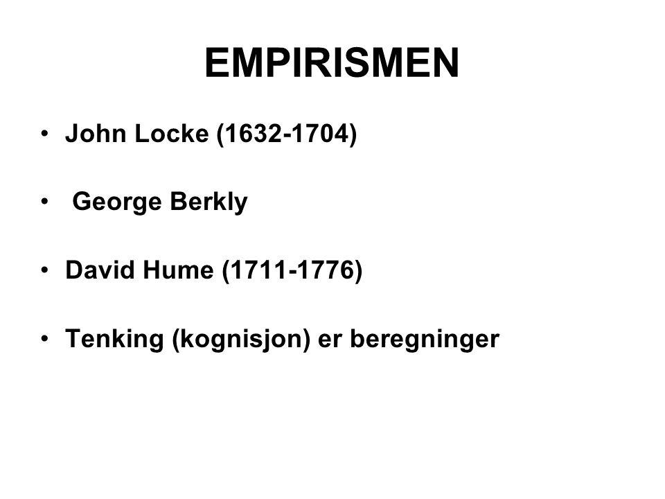 EMPIRISMEN John Locke (1632-1704) George Berkly David Hume (1711-1776)