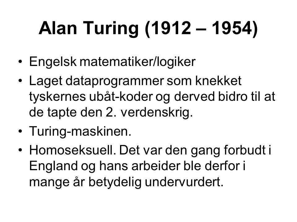 Alan Turing (1912 – 1954) Engelsk matematiker/logiker