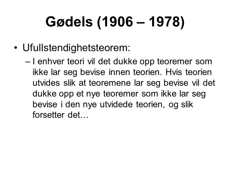 Gødels (1906 – 1978) Ufullstendighetsteorem: