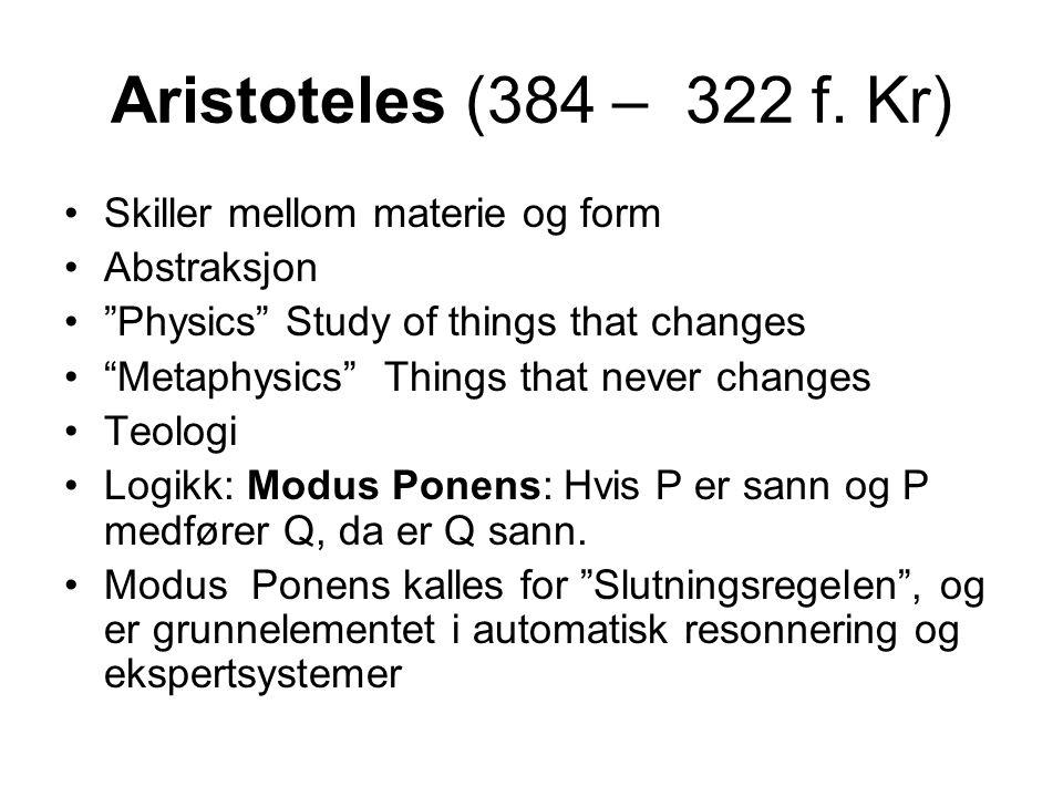 Aristoteles (384 – 322 f. Kr) Skiller mellom materie og form