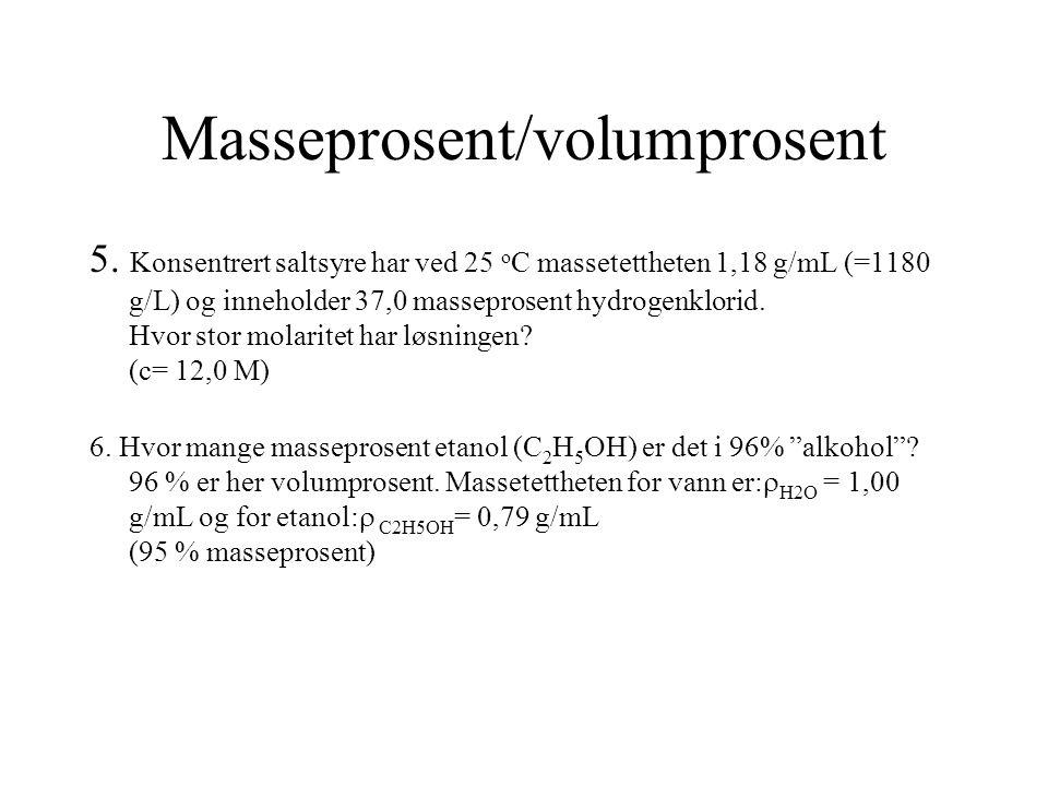 Masseprosent/volumprosent