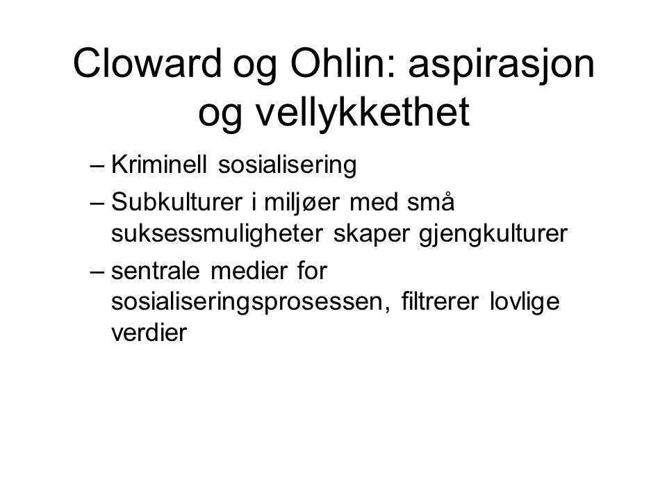 Cloward og Ohlin: aspirasjon og vellykkethet
