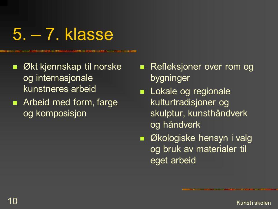 5. – 7. klasse Økt kjennskap til norske og internasjonale kunstneres arbeid. Arbeid med form, farge og komposisjon.