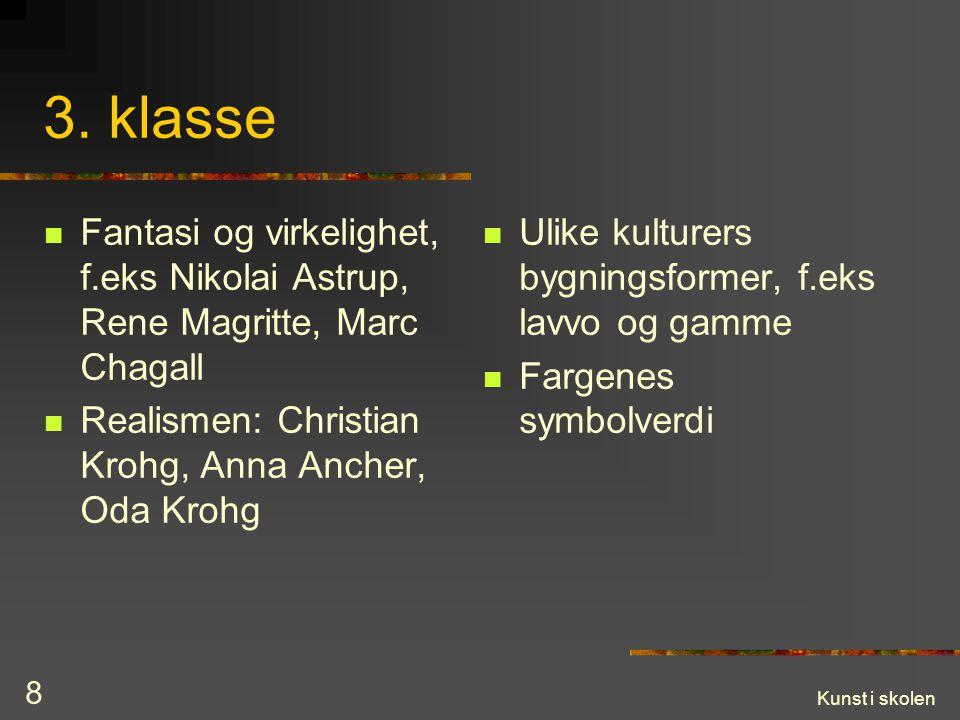 3. klasse Fantasi og virkelighet, f.eks Nikolai Astrup, Rene Magritte, Marc Chagall. Realismen: Christian Krohg, Anna Ancher, Oda Krohg.