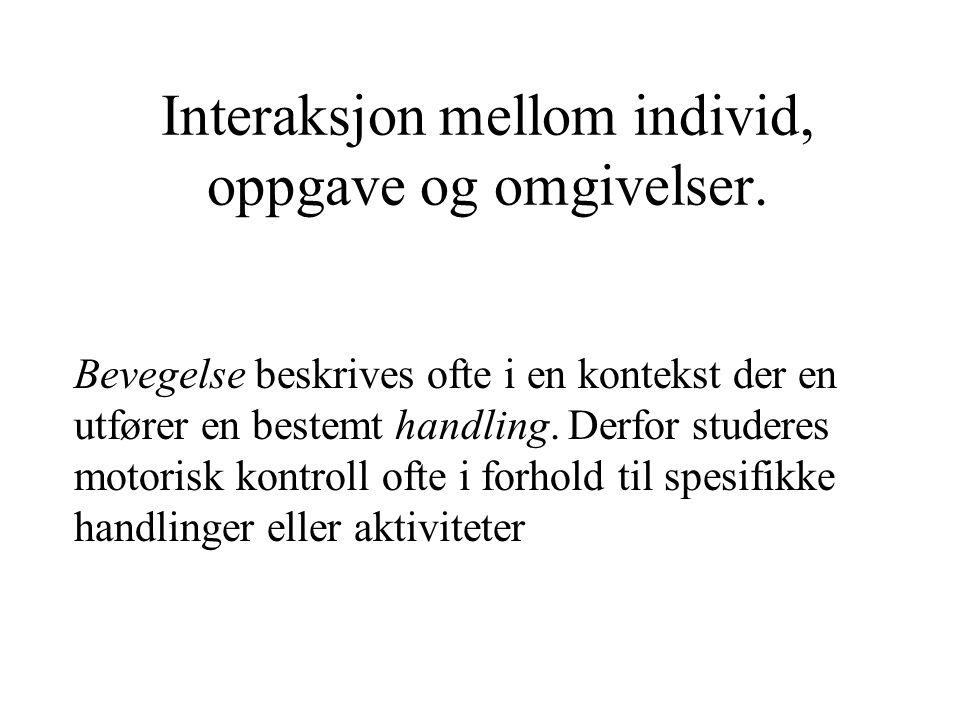 Interaksjon mellom individ, oppgave og omgivelser.