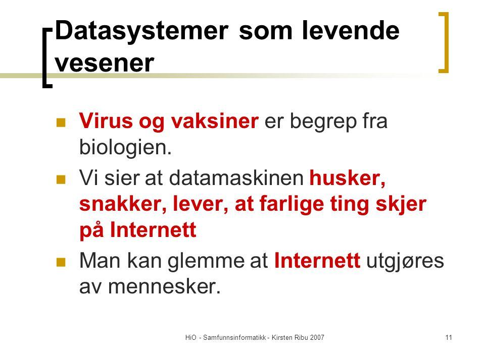 Datasystemer som levende vesener