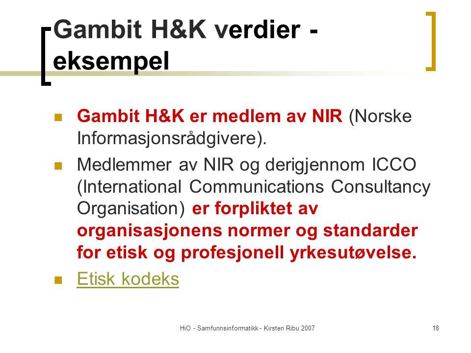 Gambit H&K verdier - eksempel