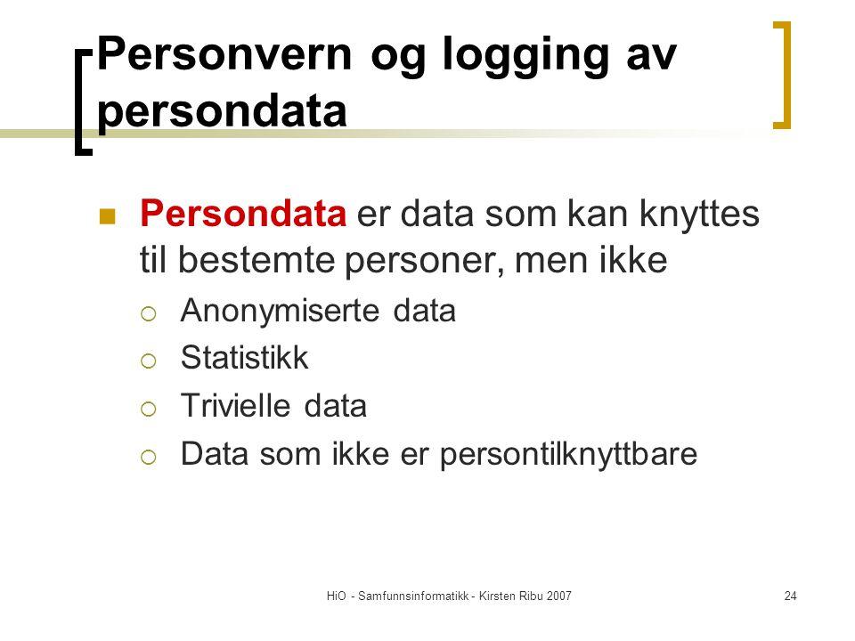 Personvern og logging av persondata