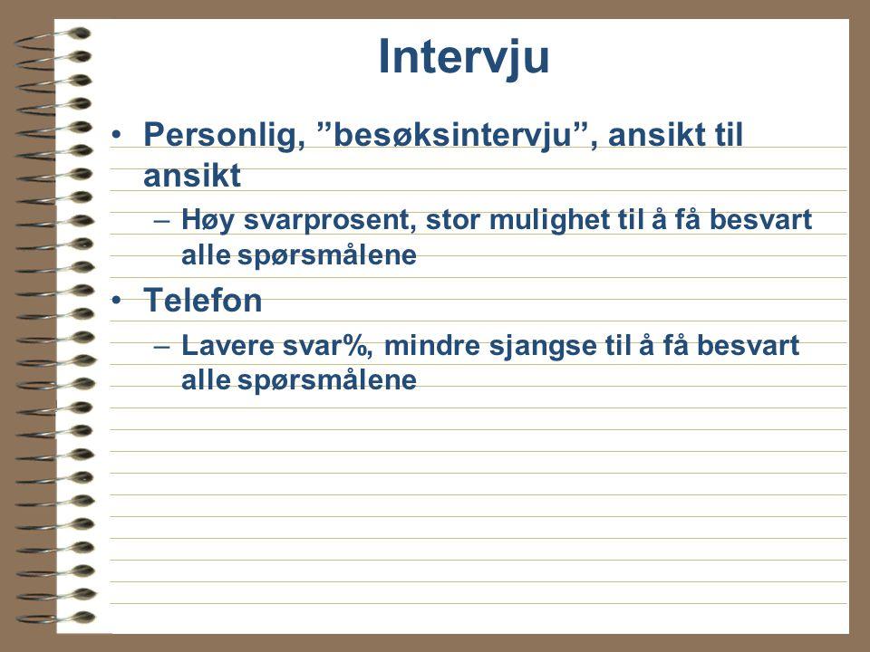 Intervju Personlig, besøksintervju , ansikt til ansikt Telefon