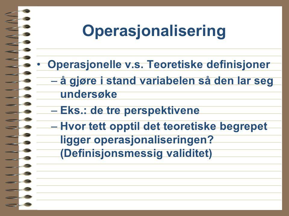 Operasjonalisering Operasjonelle v.s. Teoretiske definisjoner