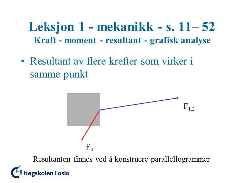 Leksjon 1 - mekanikk - s. 11– 52 Kraft - moment - resultant - grafisk analyse