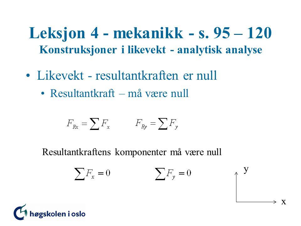 Leksjon 4 - mekanikk - s. 95 – 120 Konstruksjoner i likevekt - analytisk analyse