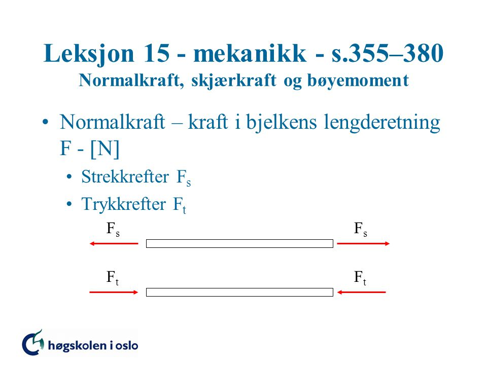 Leksjon 15 - mekanikk - s.355–380 Normalkraft, skjærkraft og bøyemoment