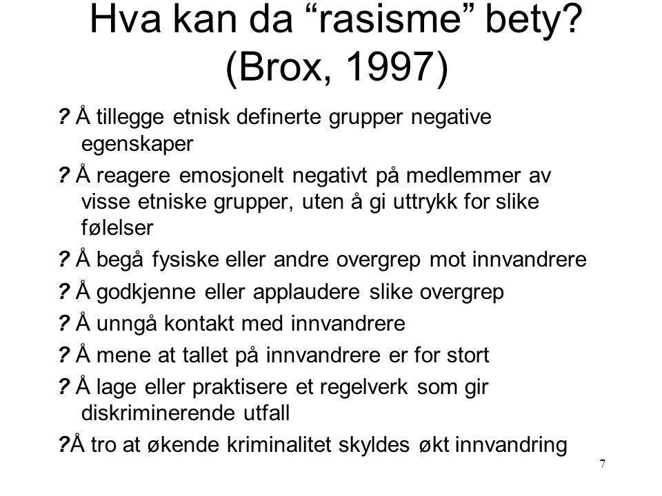 Hva kan da rasisme bety (Brox, 1997)