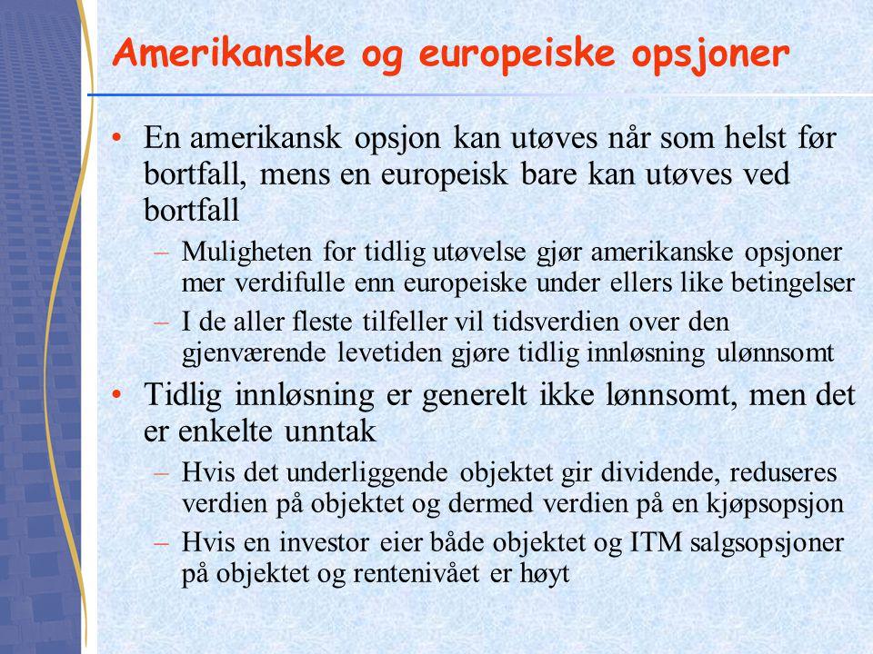 Amerikanske og europeiske opsjoner