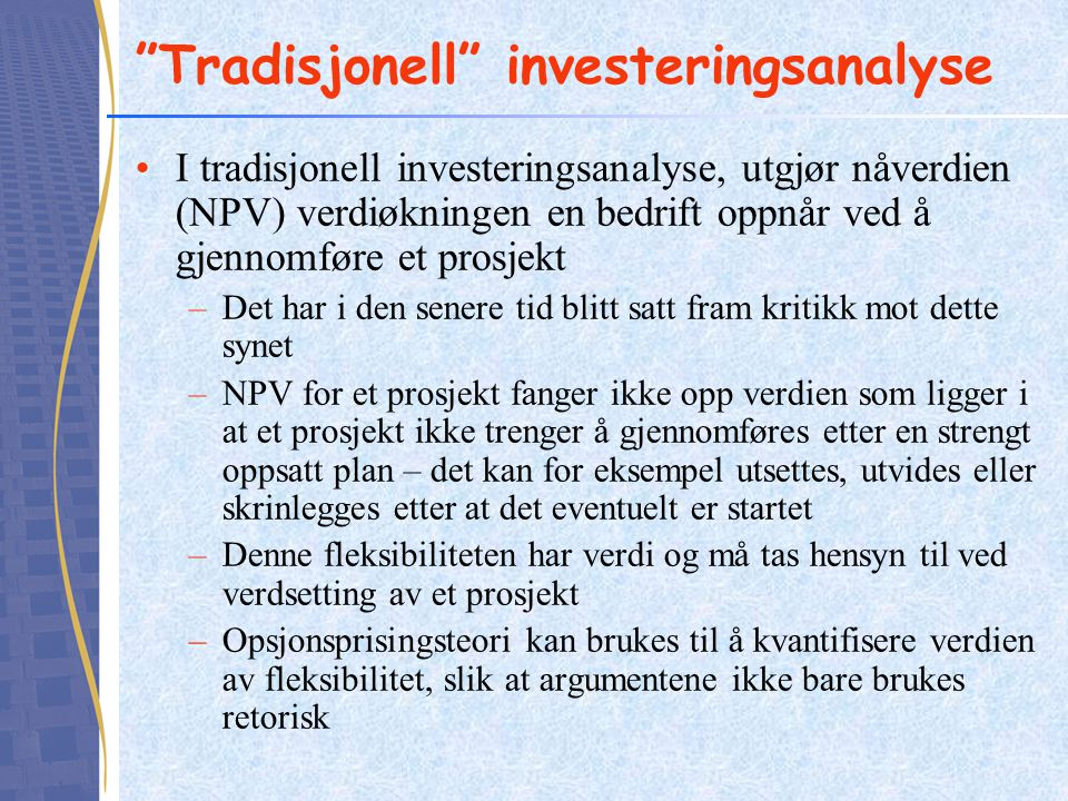 Tradisjonell investeringsanalyse