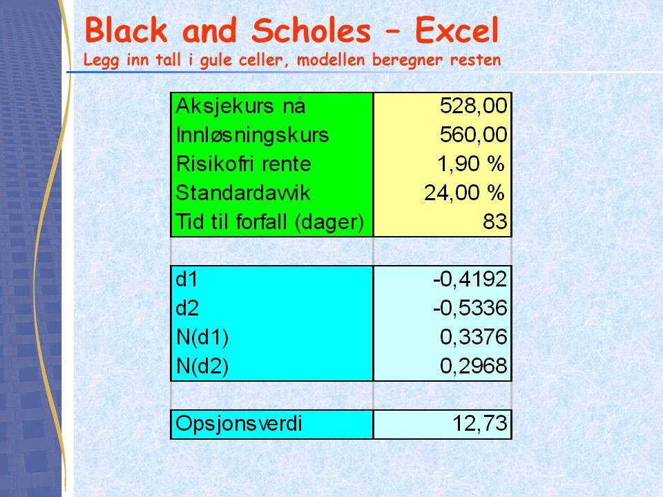 Black and Scholes – Excel Legg inn tall i gule celler, modellen beregner resten